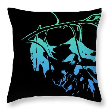 Throw Pillow featuring the photograph Blue On Black by Lauren Radke