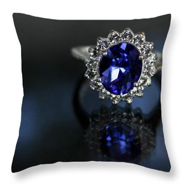 Blue On Bling Throw Pillow