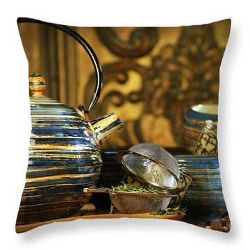 Blue Oriental Teapot With Cups  Throw Pillow by Sandra Cunningham