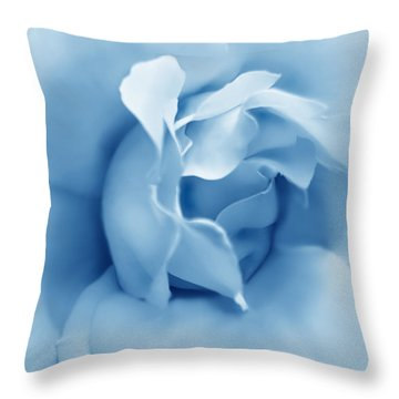 Blue Pastel Rose Flower Throw Pillow by Jennie Marie Schell
