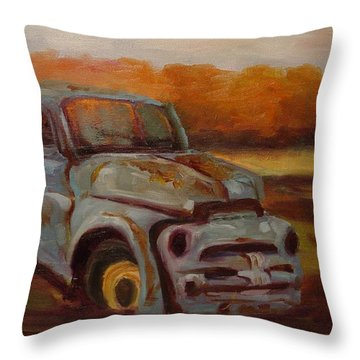 Throw Pillow featuring the painting Blue Pickup by Carol Berning