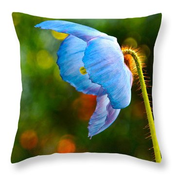 Blue Poppy Dreams Throw Pillow