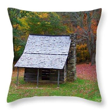 Blue Ridge Cabin Throw Pillow