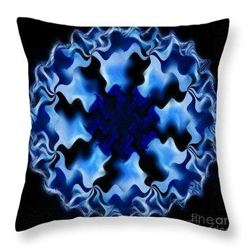 Blue Ripple Throw Pillow by Danuta Bennett