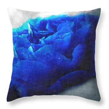 Throw Pillow featuring the digital art Blue Rose by Debbie Portwood