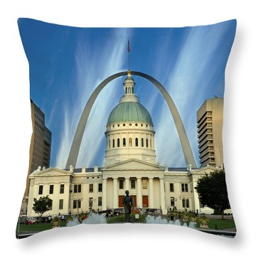 Blue Skies Over St. Louis Throw Pillow by Marty Koch