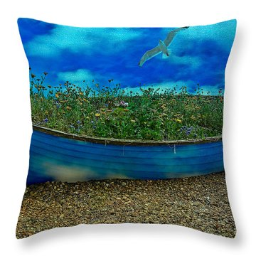 Throw Pillow featuring the photograph Blue Sky Boat  by Chris Lord