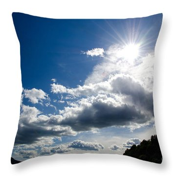 Blue Sky With Clouds Throw Pillow by Mats Silvan