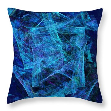 Blue Space Debris Throw Pillow by Andee Design