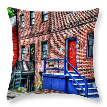Blue Steps Throw Pillow by Debbi Granruth