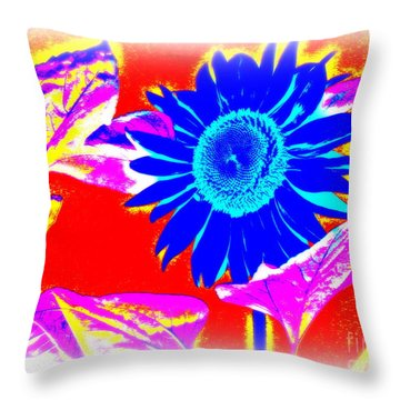 Blue Sunflower Throw Pillow by Pauli Hyvonen