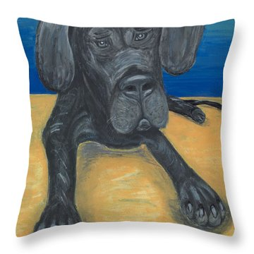 Blue The Great Dane Pup Throw Pillow