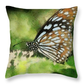 Blue Tiger Throw Pillow by Lois Bryan