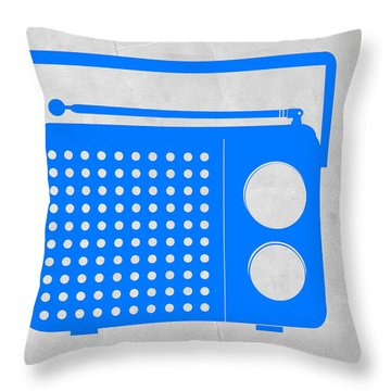 Blue Transistor Radio Throw Pillow