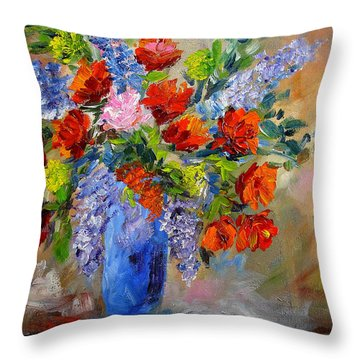 Blue Vase Floral Throw Pillow by Mary Jo Zorad