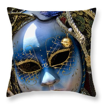 Blue Venetian Mask Throw Pillow by David Smith