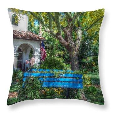 Blue Wagon Throw Pillow by Cindy Nunn