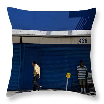 Throw Pillow featuring the photograph Blue Wall At 438 by Lorraine Devon Wilke