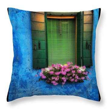 Blue Wall Throw Pillow by Mauro Celotti