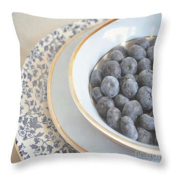 Blueberries In Blue And White China Bowl Throw Pillow by Lyn Randle