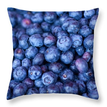 Blueberries Throw Pillow by Tanya Harrison