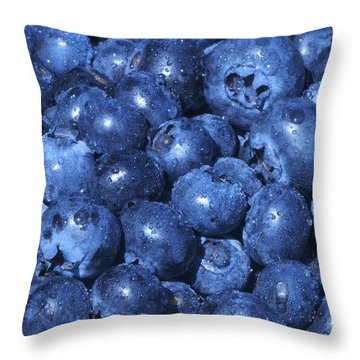 Blueberries With Waterdrops Throw Pillow by Sharon Talson