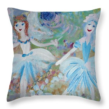 Blueberry Fairies Throw Pillow