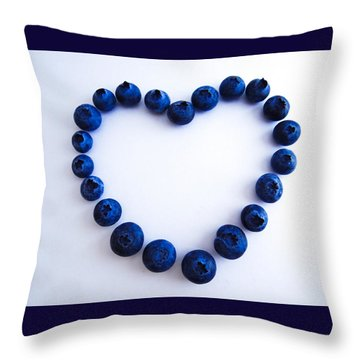 Throw Pillow featuring the photograph Blueberry Heart by Julia Wilcox