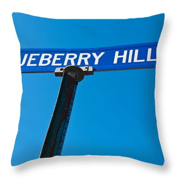 Blueberry Hill Sign Throw Pillow