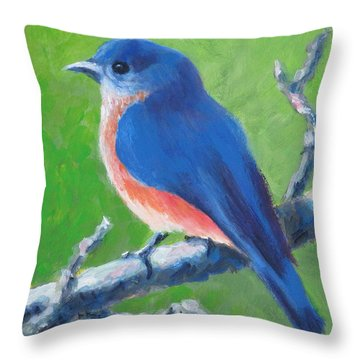 Bluebird In Spring Throw Pillow