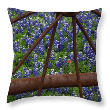 Bluebonnets And Rusted Iron Wheel Throw Pillow