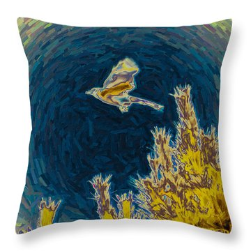 Bluejay Gone Wild Throw Pillow by Trish Tritz