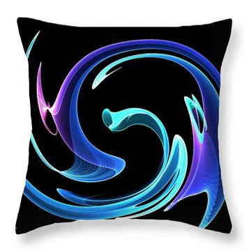 Throw Pillow featuring the digital art Dancing Blues by Maciek Froncisz