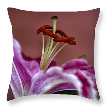 Blushing Bloom Throw Pillow