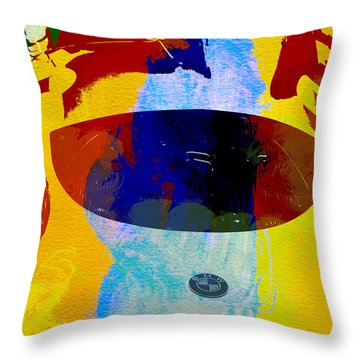 Bmw Open Cockpit Watercolor Throw Pillow by Naxart Studio