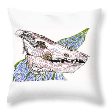 Boar Skull Ink Throw Pillow