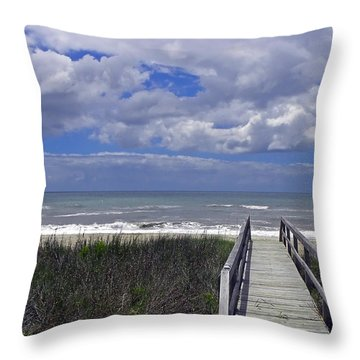Boardwalk To The Beach Throw Pillow by Sandi OReilly