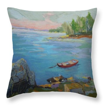 Boat And Bay Throw Pillow by Francine Frank