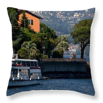 Boat And Tree Throw Pillow