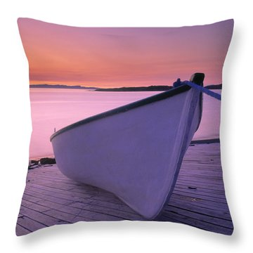 Boat At Dawn, Harrington Harbour, Lower Throw Pillow by Yves Marcoux