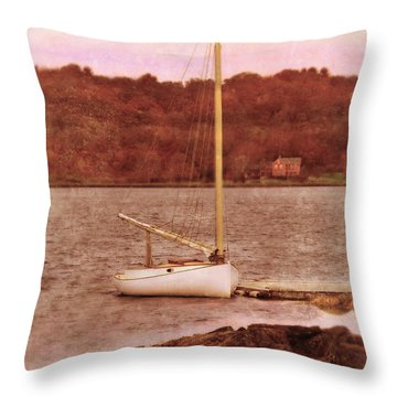 Boat Docked On The River Throw Pillow by Jill Battaglia