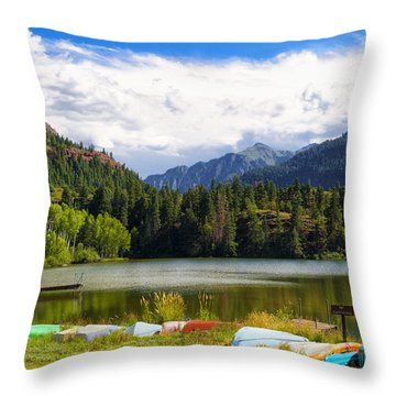 Boat Lined Lake Throw Pillow