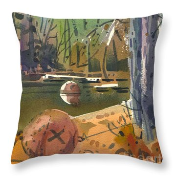 Throw Pillow featuring the painting Boat Moorings by Donald Maier