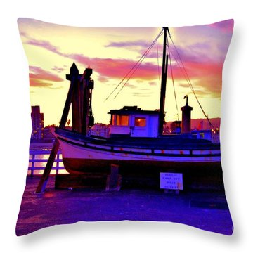 Boat On Santa Cruz Wharf Throw Pillow