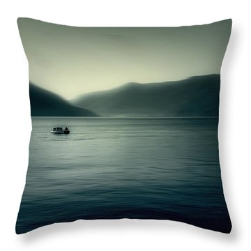 boat on the Lake Maggiore Throw Pillow by Joana Kruse