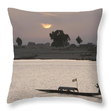 Boat On The Niger River In Mopti, Mali Throw Pillow by Peter Langer