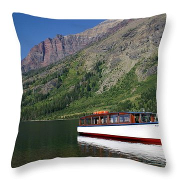 Boat On Two Medicine Throw Pillow by Marty Koch