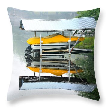 Boat Reflections Throw Pillow by Ann Murphy
