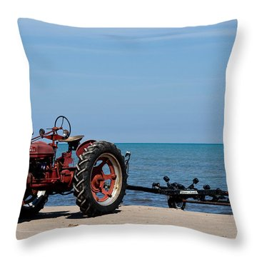 Throw Pillow featuring the photograph Boat Trailer by Barbara McMahon