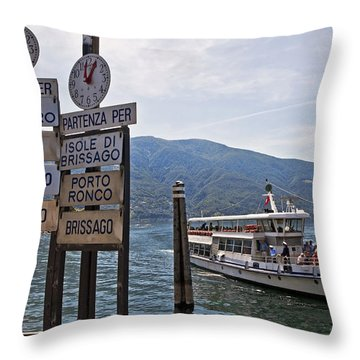 Boat Trip On Lake Maggiore Throw Pillow by Joana Kruse
